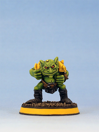 Citadel Miniatures Blood Bowl Goblin without helmet by Kev Adams
