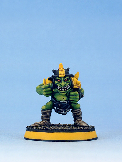 Citadel Miniatures Blood Bowl Goblin with helmet by Kev Adams